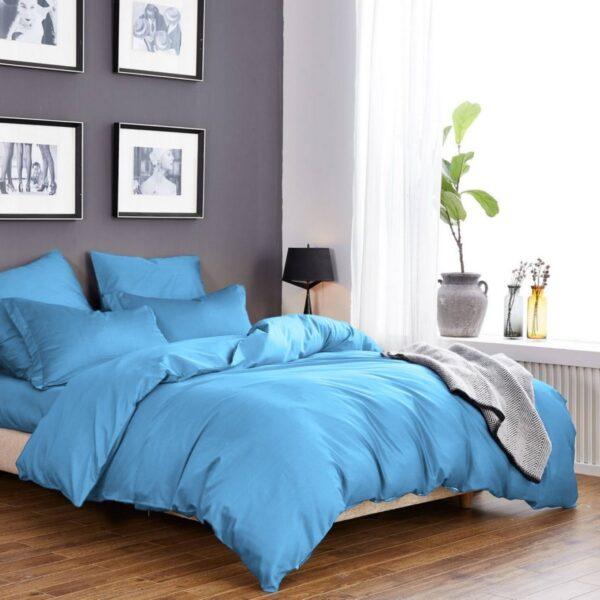 Однотонный комплект постельного белья небесного цвета