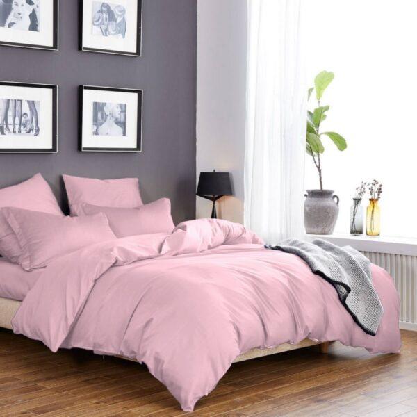 Постельное белье светло розовое однотонное сатин