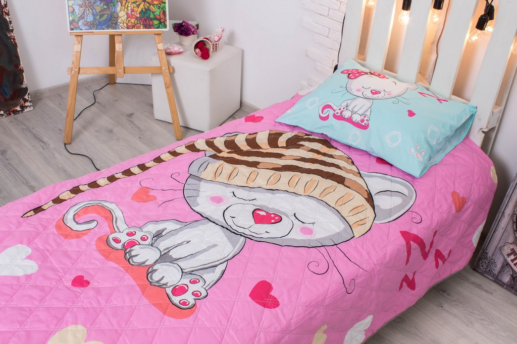 Детское покрывало на кровать Мурлыка 145х205 см + наволочка 50х70 см