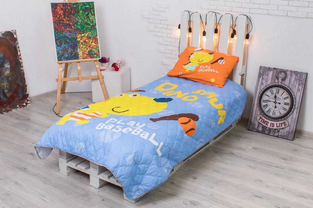 Детское покрывало на кровать Дино бейсбол 145х205 см + наволочка 50х70 см 2