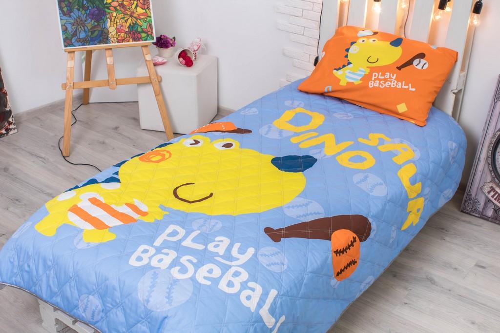 Детское покрывало на кровать Дино бейсбол 145х205 см + наволочка 50х70 см