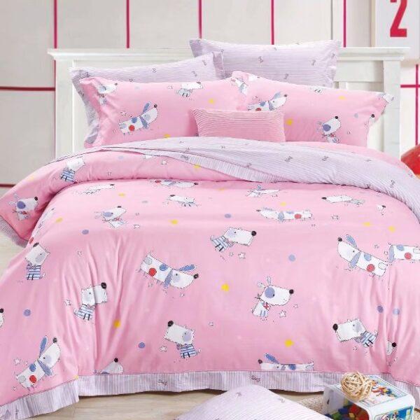 Постельное белье собаки на розовом фото